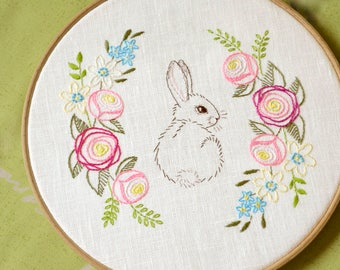 Easter embroidery, hand embroidery patterns, easter bunny, diy gift , Flowers embroidery, floral embroidery pattern by NaiveNeedle