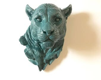 Faux Taxidermy Large Panther in DARK WAVE Faux animal head faux taxidermie large animal head / animal wall hanging wall mount / office wall