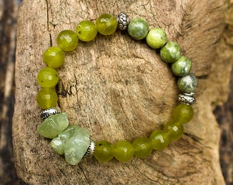 Prehnite, jade and tibetan turquoise in unique bracelet. Only ONE SINGLE COPY.