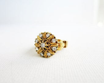 Antique 8K Gold Round Rositas Ring with 9 Brilliant Cut Diamonds from the Philippines (US Ring Size 5.5)