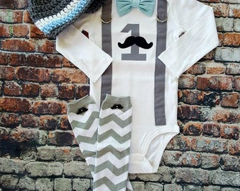 READY TO SHIP Baby bow tie and Suspender bodysuit - Mustache First Birthday - Button Leg Warmers - Newsboy Hat - Size 24 Months