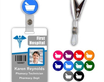 Pharmacy Mortar & Pedestal Badge ID Name Tag Clip - Available in 10 colors