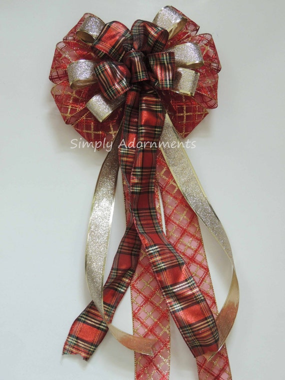 CIJ Red Gold Christmas Plaid Bow Gold Red Christmas Tartan Tree Bow Red Gold Plaid Bow Christmas Plaid Tree Topper Bow Christmas Swag Bow