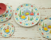 Vintage 1950s Scandinavian Design Tin Litho Toy Dishes, 1 Tea Cup, 4 Saucers, 4 Plates, Retro, Alpine Maids, 50s, Toy Dishes, Child Toy