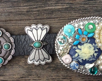 Handmade New Glitzy Glam Rhinestone Bling Cowgirl Vintage Upcycled Junk Findings Belt Buckle
