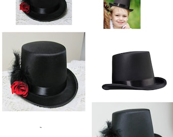 Upcycled Mini Black Top Hat, Little Boys Top Hat, Mini Top Hat, Wedding Ring Pillow Alternative, Wedding Accessories, Party Decor