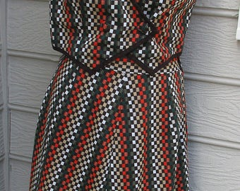 1980's 2 piece polyester skirt and vest orange, brown, tan, green vintage