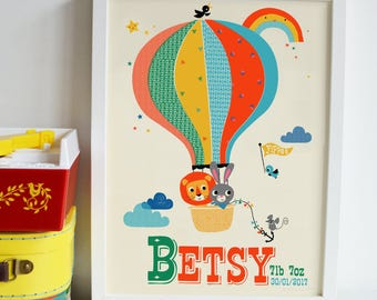 Personalised Hot Air Balloon Name Print Art lion bunny Print New Baby Gift rainbow print Retro Kids Nursery name print New Baby name Print