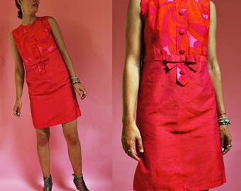 1960s SILK Two Tone Floral Mod Shift Dress- As Is