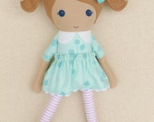 Fabric Doll Rag Doll Light Brown Haired Girl in Light Blue Floral Dress