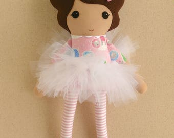 Fabric Doll Rag Doll Brown Haired Girl in Pink Sheep Dress with Stripe Leggings and White Tutu