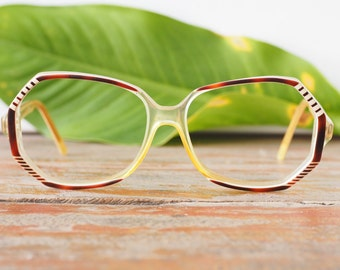 Eyeglass Vintage 1970's Funky Oversize Eyeglasses Cool Shape Frames Tortoise And Clear Glasses Made In France