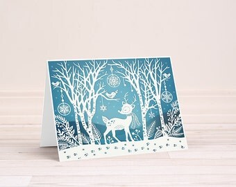 Winter Woods - Folded Greeting Card - Papercut Illustration - Holiday Card