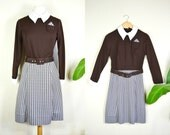 Vintage Peter Pan Collar Dress, 1960s Brown and White Checkered Secretary Dress