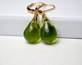 Olive Green Earrings, Glass Earrings, Green Jewelry, Gold Leverback Earrings, Green Teardrop Earrings, Dangle Earrings, UK, Girlfriend Gift