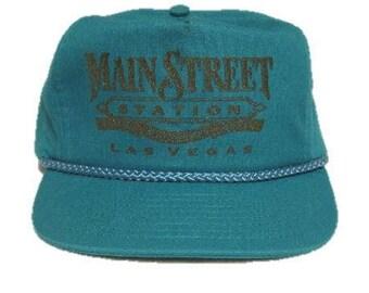 Vintage Main Street Station Las Vegas Trucker Hat - snapback snap back style - Teal and Gold