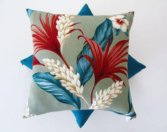 Ginger and red feather palm tropical barkcloth cushion cover