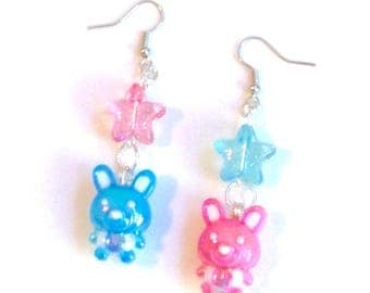 Shiny Bunny Charm Earrings with Pastel Pink and Blue Glitter Star Beads
