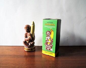 Vintage Miniature Liquor Bottle, Mobana Creme de Banana Liqueur Bottle, Tiki Bar Decor, Cheeky Monkey Figurine, Collectible Liquor Bottle