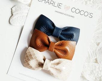 "Baby / Girls Leather Bow Headband, Leather Hair Bow Clip, Genuine Leather Baby Bows, Baby Hair Clip Set, Baby Headband Set ""Neutrals"""