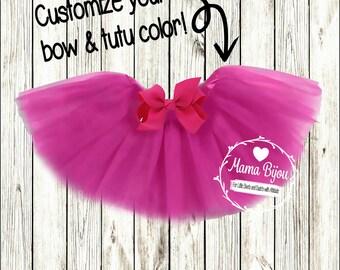 Baby Tutu, Customized Tutu, Newborn Baby Girl, Baby Girl, Photo Prop, Grosgrain Bow, Birthday Girl Tutu, Customize Choose Colors