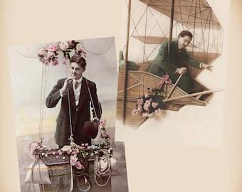 Man - Balloon - Flying Machine - 2 New 4x6 Vintage Postcard Image Photo Prints - GE14-05