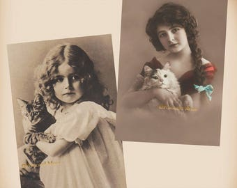 Girl With A Cat - 2 New 4x6 Vintage Postcard Image Photo Prints - CE151-07