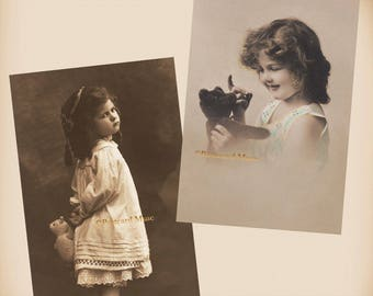 Girl With A Teddy Bear - 2 New 4x6 Vintage Postcard Image Photo Prints - CE134 CE149