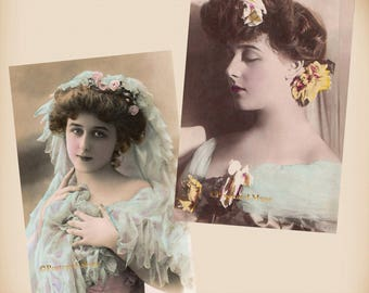 Actress Gabrielle Robinne - 2 New 4x6 Vintage Card Image Photo Prints RO02 RO05