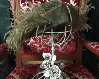 Velvet Edwardian Hat with Ostrich Feathers and Gold Metal Trim