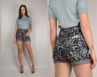 80's Denim Floral Shorts high waisted cuffed vintage