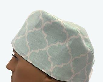 Unisex Scrub Cap - White and Light Blue Geometric Design Scrub Hat - personalized scrub -Fancy Scrub Hat - Vet Tech Scrub Hat - Nurse's Gift