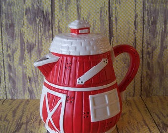 Quaint House of Lloyd Red and White Barn Teapot