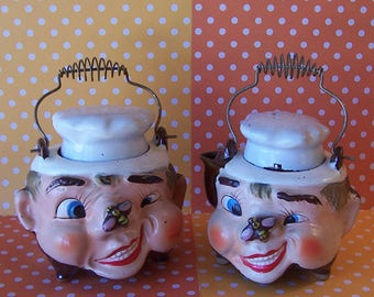 Vintage Tilso Chef Cream and Sugar Containers with Bee On Nose