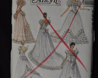 Vintage Wedding Dress -  size 8, McCall's #5804, Alicyn Exclusives, dress in 3 styles - UNCUT