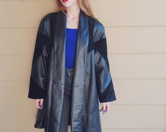 Gorgeous Leather and Suede Patchwork Oversize Coat // Women's size Medium M