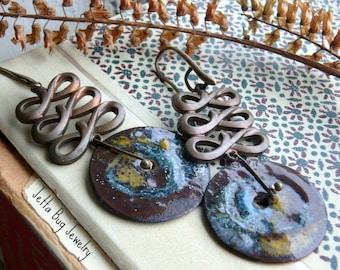 Spiraling Out- artisan swirl enamel earrings. vintage brass connectors. patina blue. ochre yellow. boho enamel statement. Jettabugjewelry