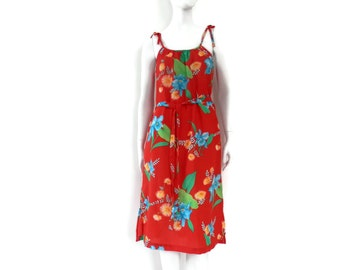 NOS Red Hawaiian Beach Dress or Swimsuit Cover Up by Lualala Size L Hawaii Fashion #93