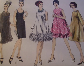 Vintage 1960's Vogue 6767 Evening Dress Sewing Pattern, Size 12, Bust 32
