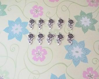 10 pcs - Silver Rose Charm