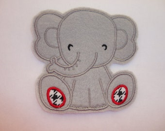 Elephant Iron On Patch, Gray Elephant Patch, Cute Elephant Patch, Baby Elephant