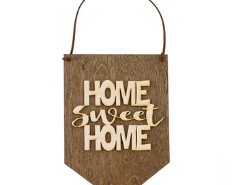 Home Sweet Home - Wood Wall Hanging - Housewarming Gift - New Home Owner - Wall Decoration - Gallery Wall - Laser Cut Wood - Farmhouse Style