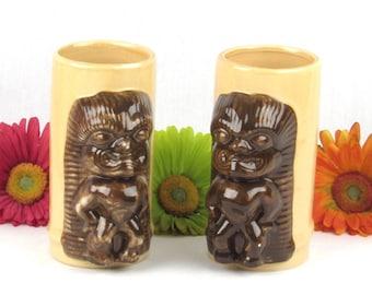 Ku God of Strength and Good Luck Tiki God Mugs - Ceramic Cups - Raised Relief Vintage Tribal Folk Lore - Polynesian - Hawaiian Home Decor