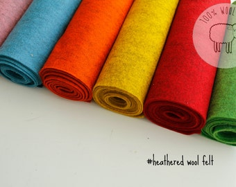 Heathered wool felt, bright pure wool felt bundle, 100% wool felt, choose sheets or by the yardiofelt and coloured