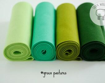 Wool felt sheets bundle, wool felt roll, Green wool felt bundle, choose the size of the sheets/rolls , Ships from Ireland
