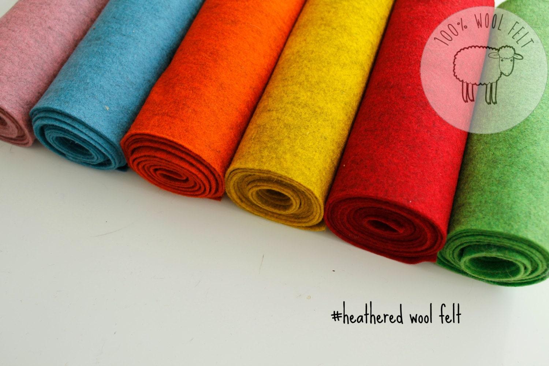Heathered Wool Felt Bright Pure Wool Felt Bundle 100 Wool
