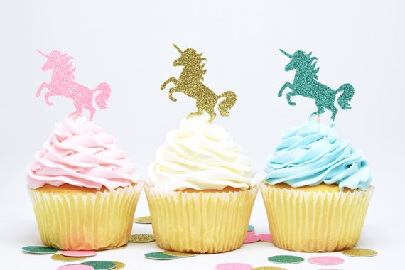 Unicorn Cupcake Toppers - Glitter - First Birthday Decor. Unicorn Party Decor. Birthday Party. Bachelorette Party. Engagement Party Decor.