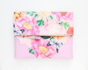 Flower clutch bag. Fold over clutch. Leather handbag. Statement purse. Floral print fabric. Pastel natural leather. Pink handbag. /BLOOM 6