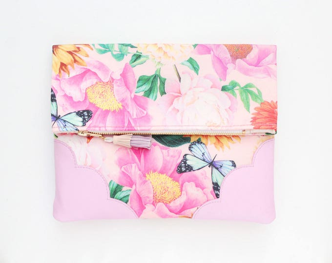 BLOOM 6 / Flower clutch purse-leather bag-fold over purse-scalloped leather-handbag-floral print-tassel pull bag-pink green-Ready to Ship
