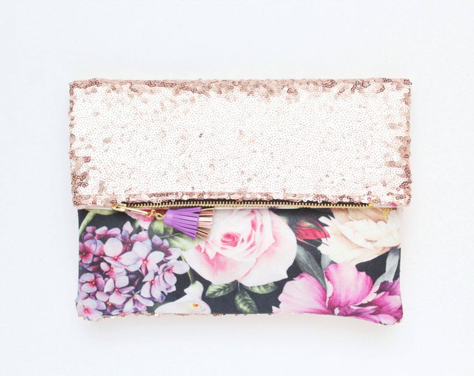 BLISS 8 / Sequin clutch bag-fold over bag-wedding bag-bridesmaid gift-floral print-flower fabric-pink sequin-blue pink purple-Ready to Ship